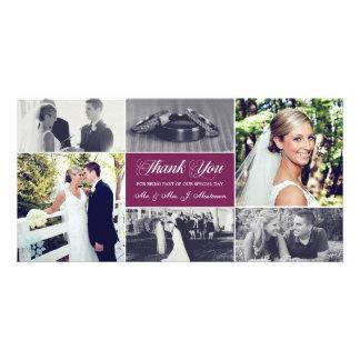 Los recienes casados le agradecen púrpura del tarjetas fotograficas