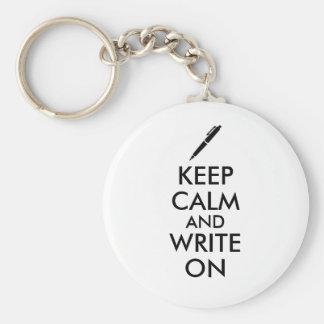 Los regalos de los escritores guardan calma y llavero redondo tipo chapa