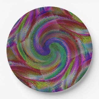 Los remolinos del color del caramelo duro plato de papel