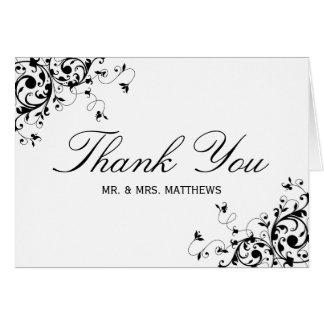 Los remolinos elegantes negros y el boda blanco le tarjeta pequeña