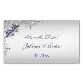 Los remolinos florales de plata púrpuras adornados tarjetas de visita magnéticas (paquete de 25)