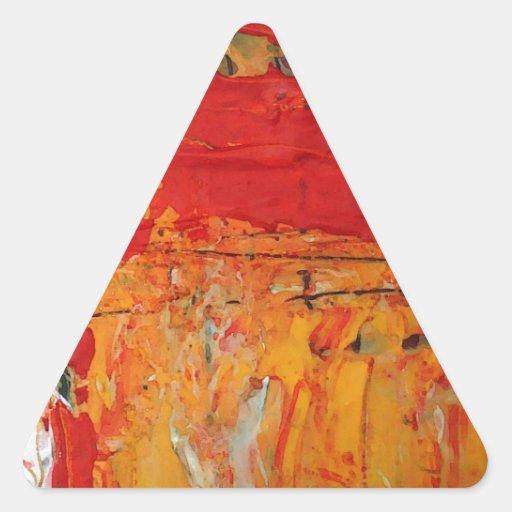 Los ricos texturizaron el extracto amarillo rojo calcomania triangulo