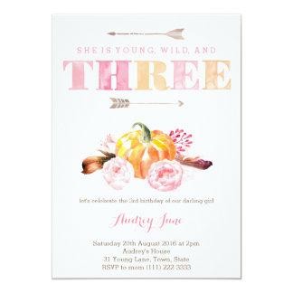 los rosas de la calabaza del boho invitan, 3ro invitación 12,7 x 17,8 cm