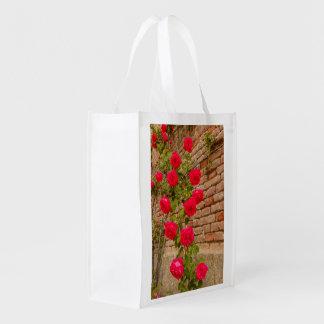 los rosas suben en una pared de ladrillo en bolso