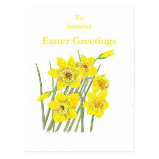Los saludos bonitos de Pascua de los narcisos Postal