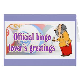 Los saludos del amante oficial del bingo tarjeta de felicitación