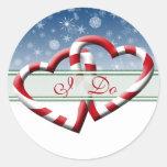 Los sellos del sobre del boda del invierno hago etiquetas redondas