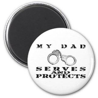 Los servicios del papá protegen - el gorra imán redondo 5 cm