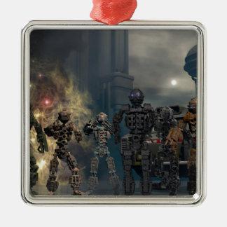 los siete robots gloriosos b adorno navideño cuadrado de metal