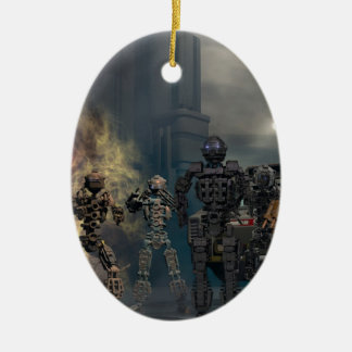 los siete robots gloriosos b adorno navideño ovalado de cerámica