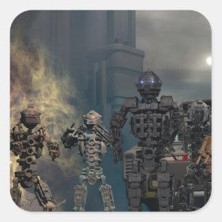 los siete robots gloriosos b pegatina cuadrada
