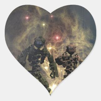 los siete robots gloriosos b pegatina en forma de corazón