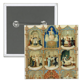 Los siete sacramentos chapa cuadrada 5 cm