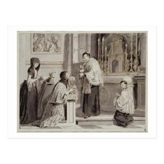 Los siete sacramentos: Comunión, 1779 (pluma, marr Tarjeta Postal