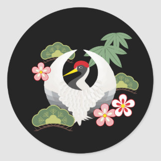 Los símbolos afortunados japoneses refrescan negro pegatina redonda