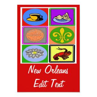 Los símbolos de New Orleans corrigen el texto Invitación 12,7 X 17,8 Cm