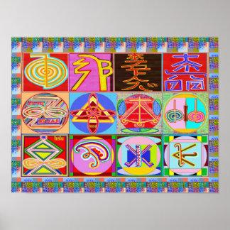 Los símbolos del amo curativo de REIKI Karuna Póster