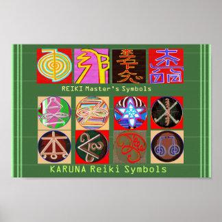 Los símbolos del amo curativo - papel superior póster