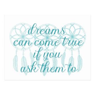 Los sueños pueden venir lema verdadero postal