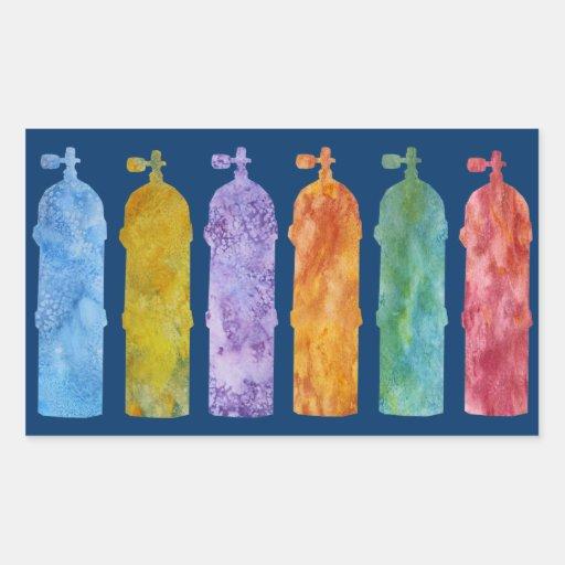 Los tanques multicolores del EQUIPO DE Rectangular Pegatinas