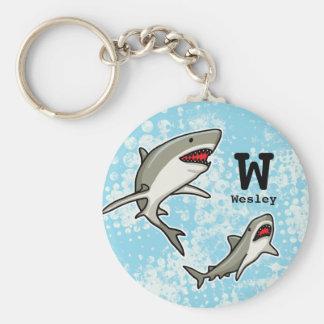 Los tiburones de la natación, añaden el nombre del llavero redondo tipo chapa