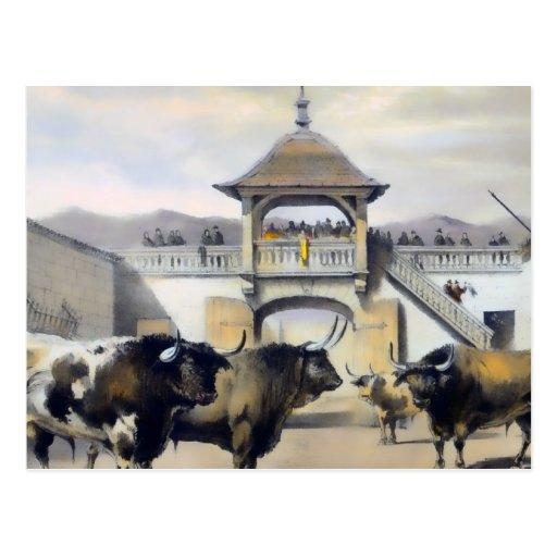 Los toros en el corral de la plaza postal