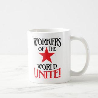 ¡Los trabajadores del mundo unen! Lema marxista Taza De Café