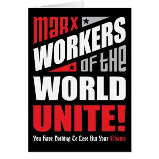 Los trabajadores del mundo unen personalizable tarjeta de felicitación