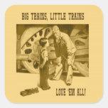 Los trenes grandes, pocos trenes los aman todo el calcomanía cuadrada
