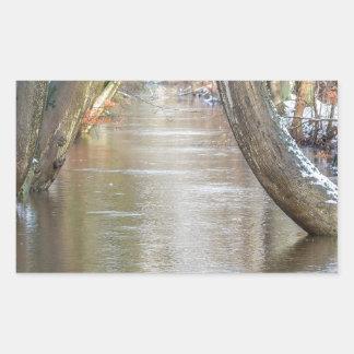 Los troncos y el bosque de árbol fluyen con nieve pegatina rectangular