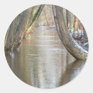 Los troncos y el bosque de árbol fluyen con nieve pegatina redonda