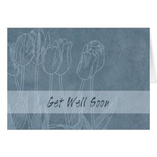 Los tulipanes azules consiguen bien todos nosotros tarjeta de felicitación