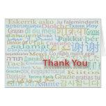 Los varios idiomas le agradecen cardar tarjetas