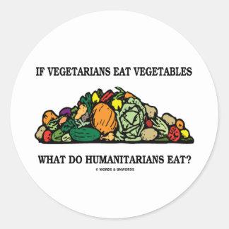 Los vegetarianos comen verduras qué hacen a pegatina redonda
