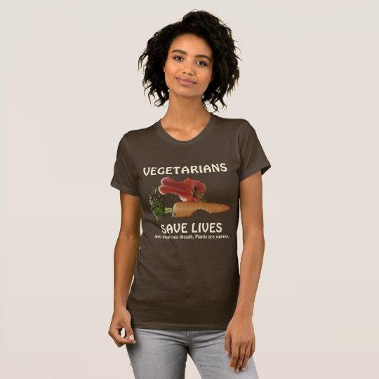 Los vegetarianos divertidos ahorran vidas camiseta