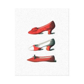 Los zapatos del rojo impresión en lienzo estirada