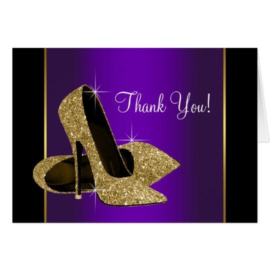 Los zapatos púrpuras del tacón alto del oro le tarjeta pequeña