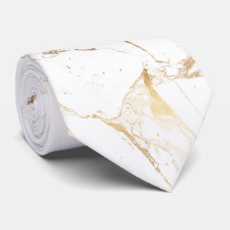 Losa de mármol blanca de PixDezines+Venas del oro Corbatas