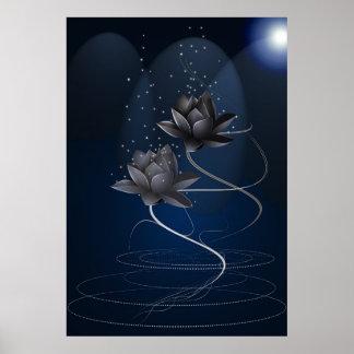Lotus negro doble póster