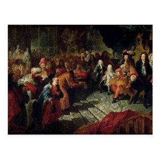 Louis XIV que recibe al embajador persa Postal