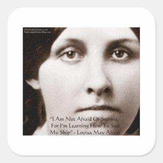 """Louisa puede Alcott """"que aprende navegar"""" los Pegatina Cuadrada"""