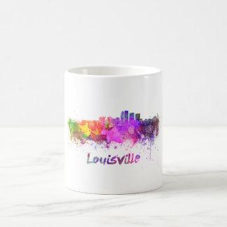 Louisville skyline in watercolor taza de café