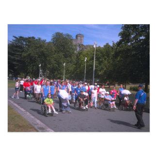 Lourdes, procesión de peregrinos y del enfermo tarjeta postal
