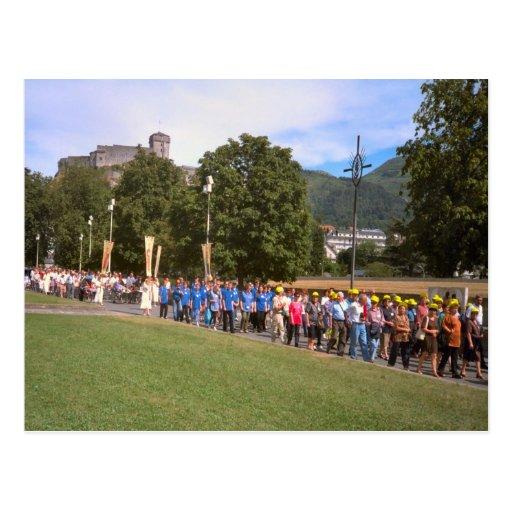 Lourdes, procesión del enfermo, cuadrado del rosar tarjetas postales