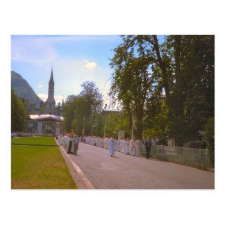 Lourdes, procesión del sacramento bendecido 1 tarjeta postal