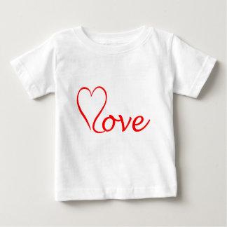 Love corazón en fondo blanco camiseta de bebé