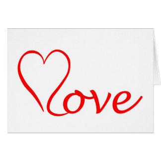 Love corazón en fondo blanco tarjeta