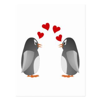 love enamoró pingüinos penguins postal