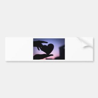 Love heart shape in hands photograph romantic vale pegatina para coche