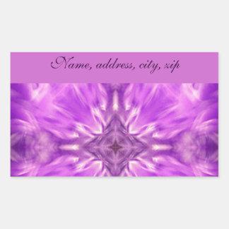 Love_ púrpura pegatina rectangular
